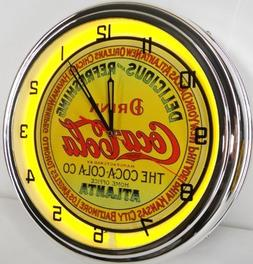 "Vintage 15"" Coca Cola Metal Sign Neon Wall Clock Night Light"