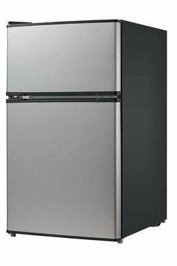 Midea WHD-113FSS1 Double Door Mini Fridge with Freezer for B