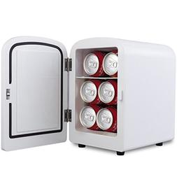 white portable mini fridge cooler