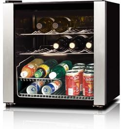 midea WHS-64W 16-Bottle Wine Cooler, Stainless Steel