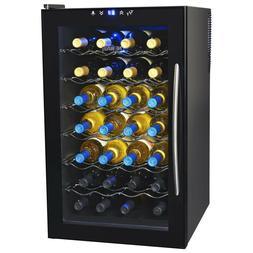 Wine Cooler Black 28 Bottle Mini Fridge Glass Door Removable